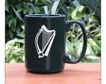 Harp Coffee Mug /  Ceramic 15 oz Coffee Cup / Harp Engraved Tea Mug / Harp Ceramic Coffee Mug / Hot Chocolate Mug