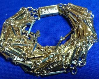 Vintage Made in Germany Multistrand Goldtone 24 strand/chain bracelet