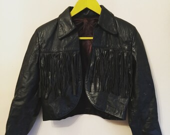 80s vintage leather fringe jacket