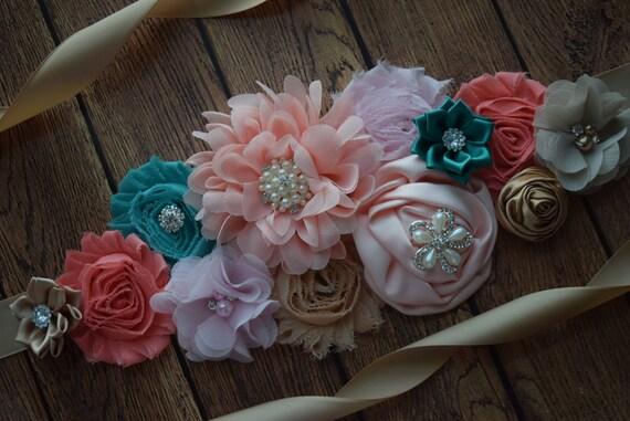 Sash, teal coral tan pink Sash , flower Belt, maternity sash, maternity sash belt, flower girl sash belt, pink sash