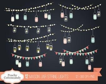 BUY 2 GET 1 FREE Mason Jar String Lights Clip Art   Mason Jars String Light  Free Invitation Clipart