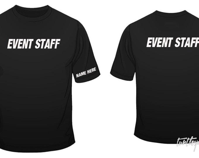 Event Staff T-Shirt w/ Custom Name S-2XL Bouncer Party Club Staff