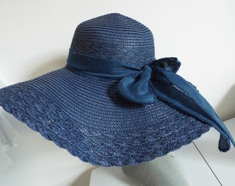 Ladies Beautiful Navy Straw /wide BRim Floppy Hat with hessian banding and bow back