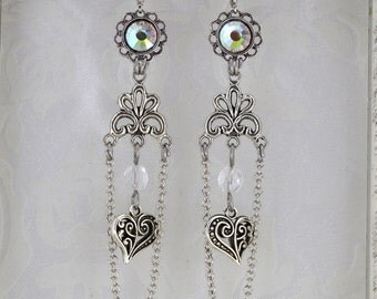 From the heart - Fantasy Victorian Valentines Day Earrings - Iridescent and silver - Elegant Heart Earrings
