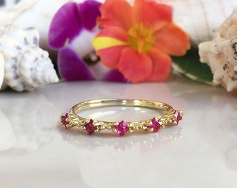 20% off-SALE!! Ruby Ring - Gold Ring - Stack Ring - Dainty Ring - Fuchsia Ring - Tiny Ring - July Birthstone - Prong Ring - Simple Ring
