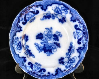 Royal Cauldon Flow Blue Plate in the Candia pattern