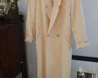 Vintage/ Butter Cream Wool Full Length Oversized Coat