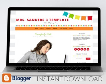 Instant Download: Premade Blogger Template // Bright Bunting Template - Mrs. Sanders Style 3
