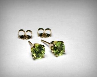 14K Genuine Peridot Earrings Studs, Genuine AAA Peridot Stud Earring, 14K Yellow 14K White Gold, Peridot Jewelry, August Birthstone, Earring