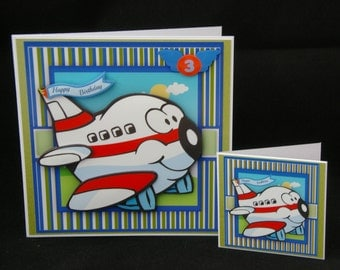 Aeroplane Birthday Card, Airplane  Birthday Card,  Child's Birthday Card, Age Card, Handmade in UK, 3d decoupage Card, Personalised Card