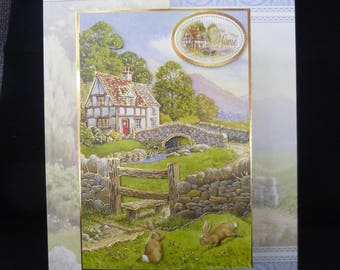 A Scenic NEW HOME 3d Decoupage Card -  A5 Foldback Handcrafted Design