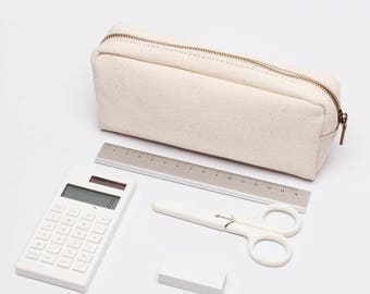 Plain Cotton Canvas Pencil Case, Simple Pen Pouch, Pen Case, Zipper Pouch,Cosmetic Bag, Make up Bag, Pencil Bag with Brass Zipper 3 Colors