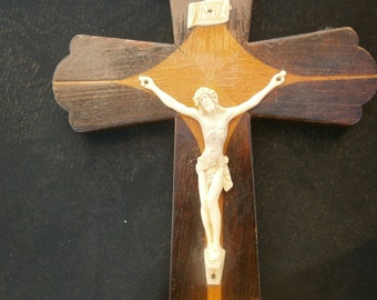 French vintage wooden crucifix, religious artifact, Jesus, Virgin Mary, Lourdes, cross, Catholic, INRI
