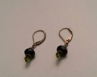 Vintage Sterling Silver Earings Blue Stone Glass Dangle 925 Jewelry