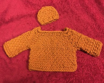 "18"" doll sweaters with matching hats."