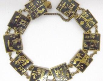 Vintage Egyptian Revival 24 k Enamel  Panel Bracelet