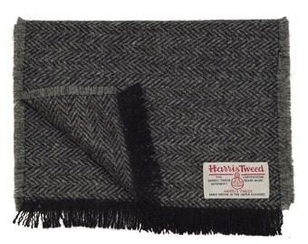 Harris Tweed Black & Charcoal Herringbone Luxury Pure Wool Mens or Womens Neck Scarf
