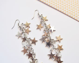Rock earrings with steel stars
