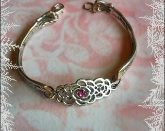 Handmade OOAK silver and pink spoon bracelet