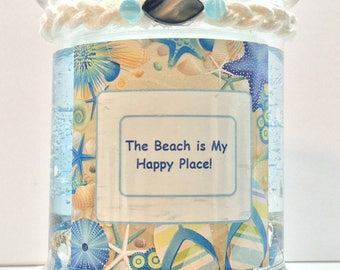 Beach & Ocean Gel Candle, Scented Blue Gel Candle, Birthday Gift,