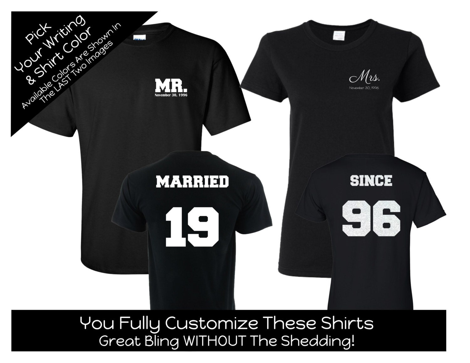 Married Since Year Mr. and Mrs. T-shirt Set Solid Number