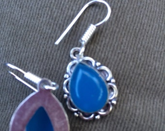 Hand Made Silver and Blue Chalcedony pierced Earrings