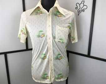 Floral 70s Disco Shirt, Small