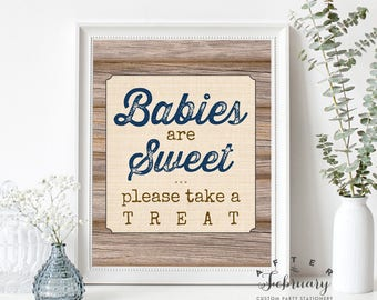 Babies are Sweet Please Take a Treat Sign Favors for Baby Shower Rustic Baby Shower Decorations Printable (Instant Download) No.709NAVY