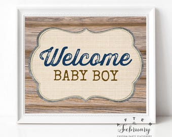 """Welcome Baby Boy Sign 8x10"""" // Country Brown Wood Farm Boy Baby Shower Decorations Sign Printable  (Instant Download) No.709NAVY"""