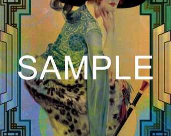 Fabric Art Quilt Block  - Retro Beauty  - 12-1711- FREE Shipping