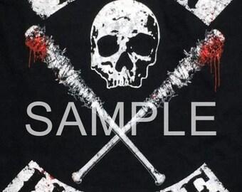 Fabric Block Art Block *The Walking Dead* Negan & Lucille  17-059 FREE SHIPPING
