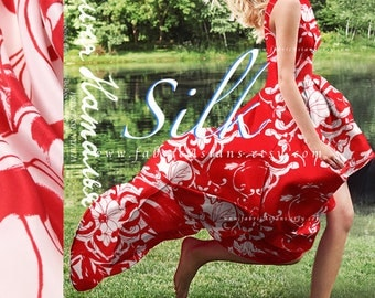 Red White Fabric Silk Crepe by the yard