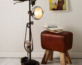 Retro vintage Industrial upcycled bicycle standing floor lamp