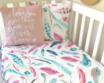 Baby Cot / Crib Fitted Sheet Pink and Aqua Feathers