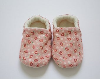 Pretty in Pink, soft sole baby girl floral shoes