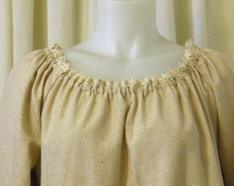 Natural Unbleached Muslin, 3/4 Sleeve with Natural Flat Trim, Pirate Peasant Blouse, Size M