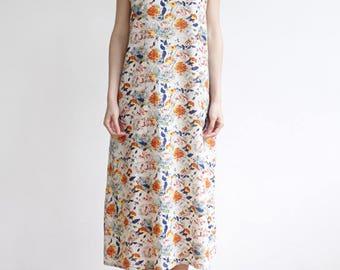 Womens Linen Sundress,Floral Dress Summer Dress,Simple Tank Dress,Sleeveless Flower Printed Dress