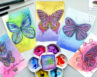 The Butterfly Collection - 5 A6 Sized Butterfly Prints
