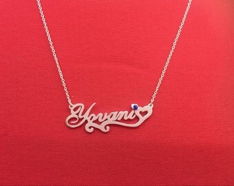 Free Shipping Birthstone Name Necklace Silver Necklace Any Name