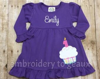 Personalized Girl's Cupcake Ruffle Dress, Girls Birthday Dress, First Birthday Outfit, Girls Birthday Shirt, Girls First Birthday Outfit