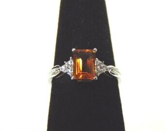 Womens Sterling Silver .925 Ring w/ Diamond Emerald Cut Citrine Colored Stone 2.1g #E2621