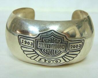 Vintage Estate Sterling Silver Harley Davidson Motorcycle 100yr Anniversary CufF Bracelet 53.6g #E3107