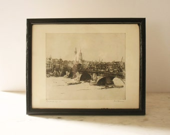 Artist-Signed Original Intaglio Print of London Ships in Black Wood Frame
