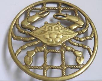 Vintage Brass Crab Shaped Trivet