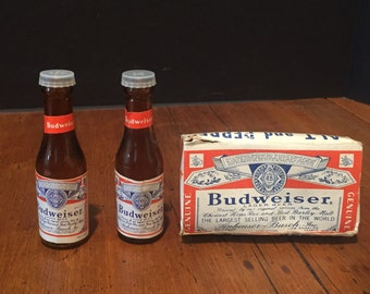 Vintage Mini Budweiser Bottle Salt and Pepper Shakers