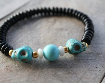 Turquoise Skull Beaded Bracelet