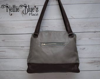 Leather Shoulder Bag Graphite and Wine Cowhide OOAK (Ready to Ship)