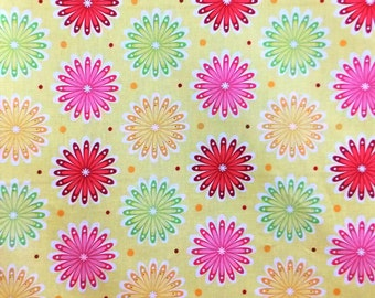 Yellow Pink Red Flower Floral 100% cotton Fat Quarter 1/2 Half Full Metre