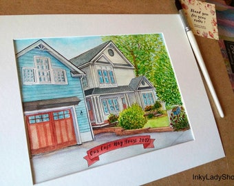 Custom watercolor house painting/House portrait drawing/Wedding gift/Moving gift/Custom home painting/Draw my home/House painting from photo