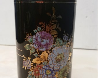 A Charming Vintage Black and Gold Ceramic Vase with Flower arrangement - Signed